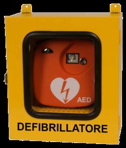 Immagine di un defibrillatore nella sua teca