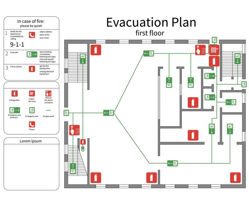 Disegno di una planimetria di evacuazione